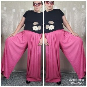 NY&CO. | Wide Leg Pleated Pants in Pink Sz L Long